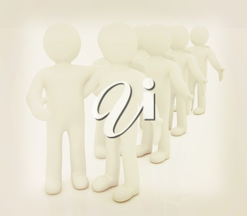 Friends standing next to an embrace and raised one's hand for greeting. 3d image. Isolated white background. . 3D illustration. Vintage style.