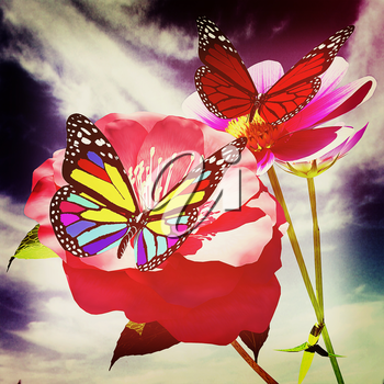 Beautiful Flower and butterfly against the sky . 3D illustration. Vintage style.