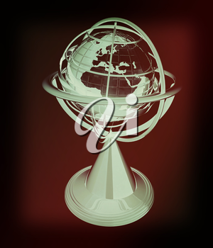 Terrestrial globe model . 3D illustration. Vintage style.