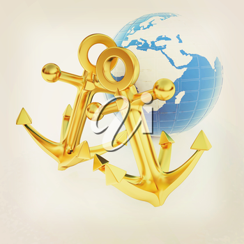 Gold anchors and Earth. 3D illustration. Vintage style.