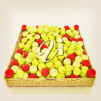 Wicker basket full of apples isolated on white. 3D illustration. Vintage style.