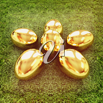 Gold Easter eggs as a flower on a green grass. 3D illustration. Vintage style.