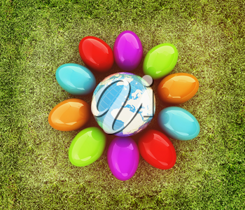 Colored Easter eggs around Earth on a green grass. 3D illustration. Vintage style.