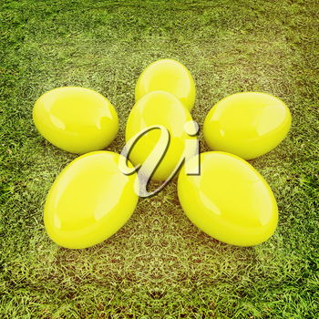 Yellow Easter eggs as a flower on a green grass. 3D illustration. Vintage style.