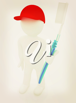 3d man with toothbrush on a white background . 3D illustration. Vintage style.