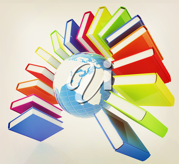 Colorful books like the rainbow and earth on a white background. 3D illustration. Vintage style.