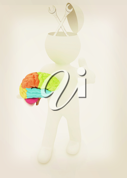 3d people - man with half head, brain and trumb up. Service concept with wrench. 3D illustration. Vintage style.