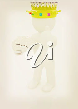 3d people - man, person with a golden crown. King with brain. 3D illustration. Vintage style.