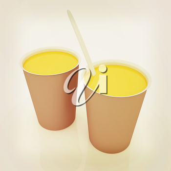 Orange juice in a fast food dishes. 3D illustration. Vintage style.