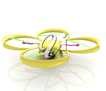 Drone, quadrocopter, with photo camera. 3d render