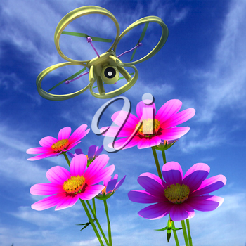 Drone, quadrocopter, with photo camera against the sky and Beautiful Cosmos Flower. 3D illustration