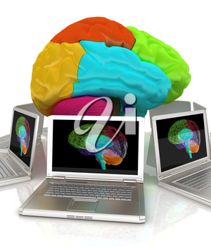 Computers connected to central brain. 3d render