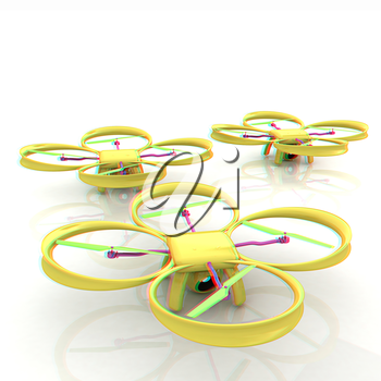 Drone, quadrocopter, with photo camera. 3d render. Anaglyph. View with red/cyan glasses to see in 3D.