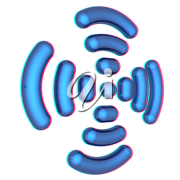 Radio Frequency Identification symbol. 3d illustration. Anaglyph. View with red/cyan glasses to see in 3D.
