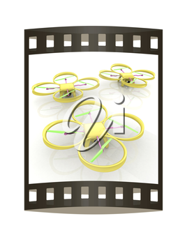 Drone, quadrocopter, with photo camera. 3d render. The film strip