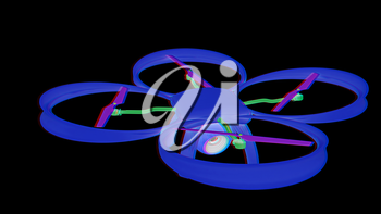 Drone, quadrocopter, with photo camera flying. 3d render. Anaglyph. View with red/cyan glasses to see in 3D.