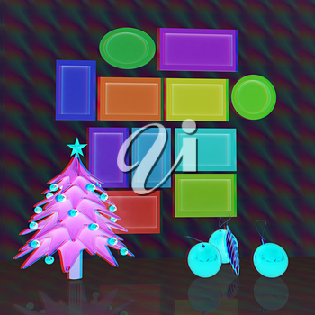 Set of Christmas and New Year frames and Christmas tree. 3D render. Anaglyph. View with red/cyan glasses to see in 3D.