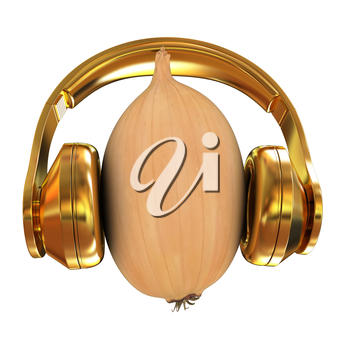 Ripe onion with gold headphones front face on a white background