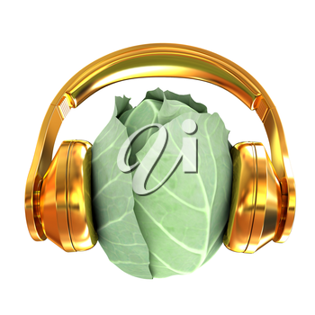 Green cabbage with headphones on a white background. 3d illustration