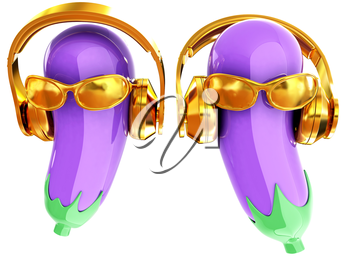 eggplant with sun glass and headphones front face on a white background. Eggplant for farm market, vegetarian salad recipe design. 3d illustration