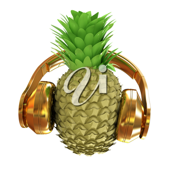 Fashion gold pineapple with headphones listens to music. 3d illustration