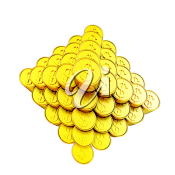 pyramid from the golden coins. 3d illustration