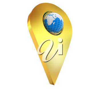 Realistic 3d pointer of map with Earth. Global concept. 3d illustration
