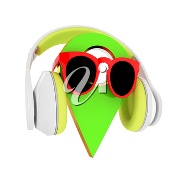 Glamour map pointer in sunglasses and headphones. 3d illustration