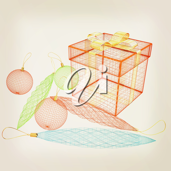 colorful gift box concept. 3d illustration. Vintage style