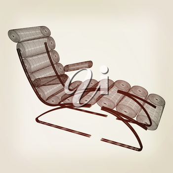 Medical chair for cosmetology. 3d illustration. Vintage style