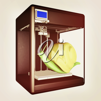3d printer during work on the snail. High bio-technology concept of the future. 3d illustration. Vintage style