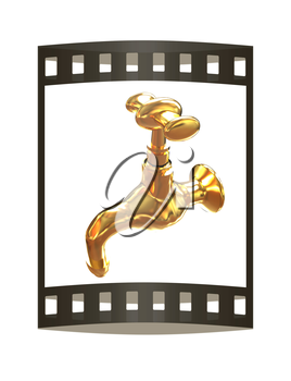 Gold water tap. 3d illustration. The film strip.