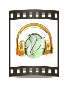 Green cabbage with headphones on a white background. 3d illustration. The film strip.
