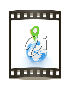 Planet Earth and map pins icon. 3d illustration.. The film strip.