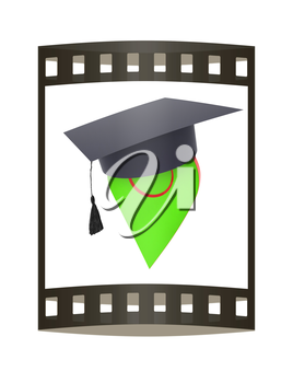 Geo pin with graduation hat on white. School sign, geolocation and navigation. 3d illustration. The film strip.