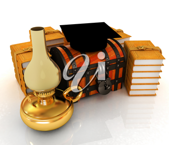 Graduation hat on chest and books around with kerosene lamp. 3d render