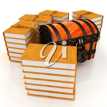 Chest and Books. 3d render