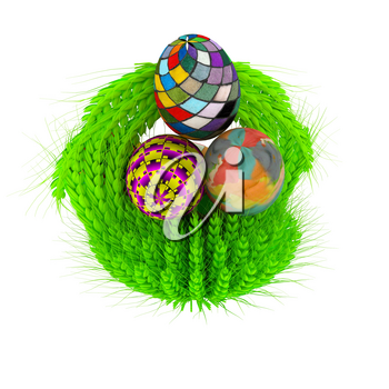 Colored basket of the ears of wheat with Easter eggs. 3d render