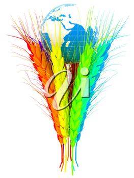 Colorfull ears of wheat and Earth. Symbol that depicts prosperity, wealth and abundance.