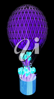 Hot Colored Air Balloon and tulips in a basket. 3d render. On a black background.