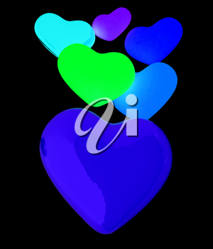 Colored hearts. 3d render. On a black background.