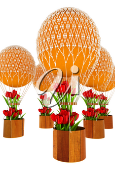 Hot Colored Air Balloons and tulips in a basket. 3d render