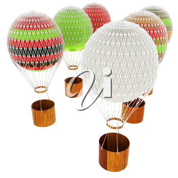 Hot Air Balloons and a basket. 3d render