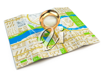 Navigation concept. GPS map of the city and golden pin. 3d