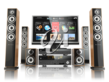 Home cinemar system. TV,  oudspeakers, player and receiver  isolated on white. 3d