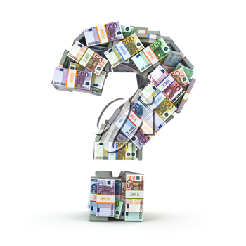 Question sign from packs of euro isolated on white. Where to invest money concept. 3d