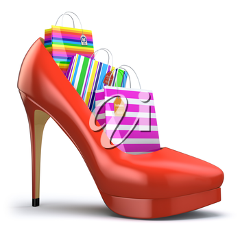 Shopping bags in women high heel shoes. Concept of consumerism. 3d