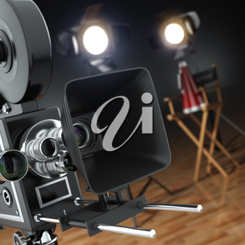 Video, movie, cinema concept. Retro camera, flash and director's chair in dark studio with dof effect. 3d