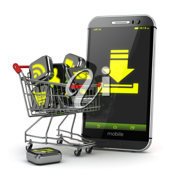 Downloading mobile apps concept. Application software icons in shopping cart and smartphone. 3d