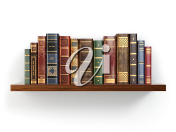 Vintage old books on shelf isolated on white. 3d